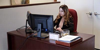 Samantha at her computer